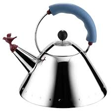 alessi  michael graves blue kettle with bird whistle  peter's of