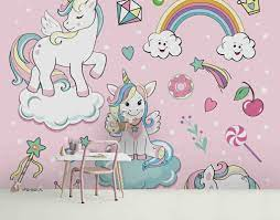 3D Cartoon Pink Unicorn Rainbow White ...