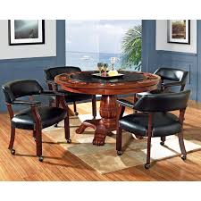 steve silver 5 piece tournament dining game table set with caster chairs cherry walmart