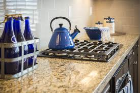 Kitchen Counter Bautiful Marble Kitchen Counter And Stove With Cobalt Blue Decor