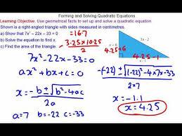 forming and solving quadratic equations