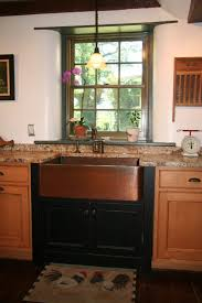 Copper Kitchen Countertops Apron Copper Kitchen Sink Installed With Granite Countertops And