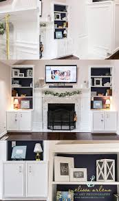 marble tile surround fireplace bookcase builtins with wainscoting trim