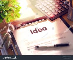 idea office supplies. Business Concept - Idea On Clipboard. Composition With Office Supplies Desk. 3d Rendering