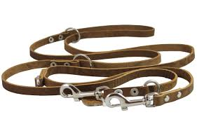 tan 6 way european multifunctional leather dog leash 3