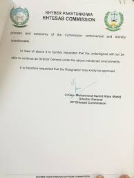 kp accountability chief resigns in protest com page 3 of dg kpec s resignation letter