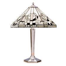 metropolitan art deco style tiffany table lamp on nickel base
