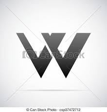 テンプレート W ベクトル デザイン 手紙 ロゴ