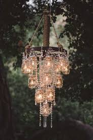 diy solar chandelier battery powered outdoor hanging lights from trees wedding vintage