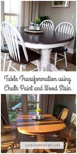 chalk paint kitchen table makeover dining table makeover wood stain and chalk paint