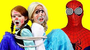 frozen anna frozen elsa vs spiderman hypnotized vs maleficent vs makeup prank funny superhero