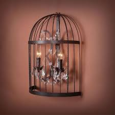 2 light iron built rust vintage birdcage crystal wall sconce dk 5006