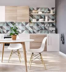 modern kitchen tiles. Geometric Tile - Russian Studio Apartment With Pastel Pattern And Minimalist Cabinets Triptod Modern Kitchen Tiles