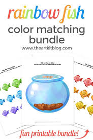 To download our free coloring pages, click on the fish picture you'd like to color. Rainbow Fish Color Sorting Printable Pack The Art Kit