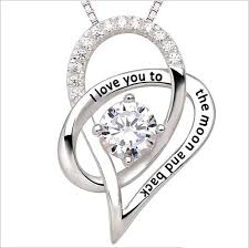 whole i love you to the moon and back mother daughter zircon heart shaped 925 silver pendant necklace jewelry 2252 silver necklace chain heart shaped