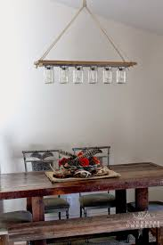 rope and mason jars create a perfect chandelier