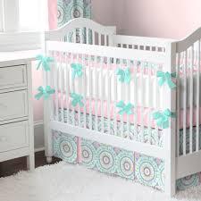 aqua haute baby crib bedding  teal accents bubblegum pink and