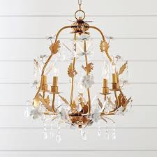white glazed flower gold chandelier