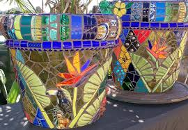 bird of paradise 19inch planters mosaic garden art