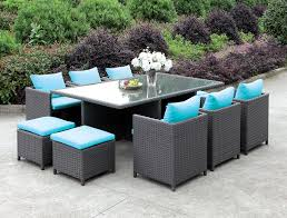 Patio Recliner Chairs Ashanti Contemporary Style Turquoise Fabric Light Brown Wicker