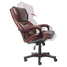 brown leather office chairs. Serta Eco-friendly Bonded Leather Executive Big \u0026 Tall Office Chair - Dark Redwood | Hayneedle Brown Chairs
