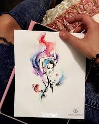 фото эскизы девушка в стиле абстракционизм авторский акварель