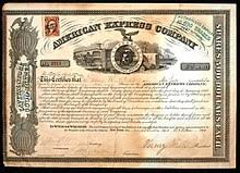 share of the american express pany issued 13 october 1865 signed by william g fargo as secretary and henry wells as president