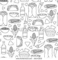 kitchen stuff doodle seamless pattern hand drawn