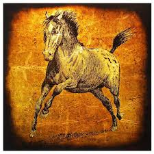 large vintage horse painting glass gold silver leaf jack white circa 1970 for