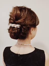 結婚式 ゲストスタイル 毛先を出さないねじり編み込みパーティアップの