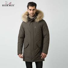 <b>HERMZI 2019 Winter</b> Coat Men Cotton Padded Coat Parka Men ...