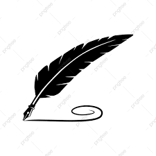 Feather Pen Logo Design Black Quill Feather Pen With Writing Line Vector Logo Design