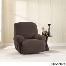 Living Room Chair Slipcovers Furniture Brixton Chocolate Stretch Recliner Slipcover For Bright