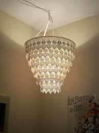 Venise Lace Faux Chandelier Pendant Lamp Shade 'Ivory'
