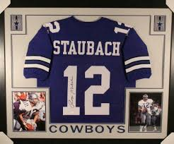 Staubach 20192 Roger - Framed Authentic Blue Signed Jersey Jsa Autographed