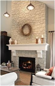 modern reclaimed wood fireplace mantel shelves paint rock out white add mantle or something like this