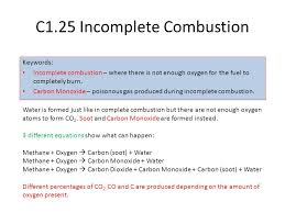 c1 25 incomplete combustion