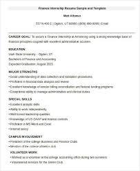 Finance Internship Resume Sample and Template