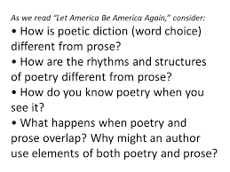 "how do you define your ""american ness"" week recap essays  as we let america be america again consider how is poetic diction"
