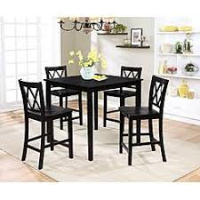 Image Pub Style Essential Home Dahlia Piece Square Table Dining Set Black Kmart Small Dining Sets Kmart