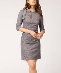 Alton Gray Size Chart Alton Gray Gray Purple Grid Tie Collar Sheath Dress
