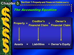 5 the accounting equation section 1 property and financial claims con t creditor s owner sfinancial claim creditor s owner s financial claimfinancial