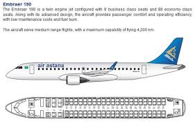 Embraer E90 Seating Chart Air Astana Airlines Embraer 190 Aircraft Seating Chart