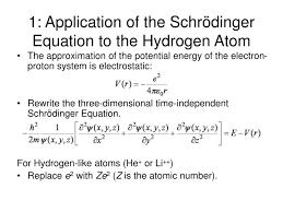 1 of the schrödinger equation to the hydrogen atom
