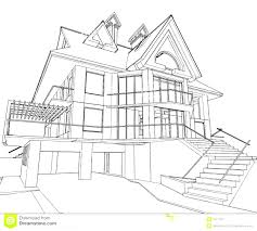 architectural house drawing. Interesting House Sketch Of Modern House Villa Terrace And Garden Royalty Free  Inside Architectural Drawing
