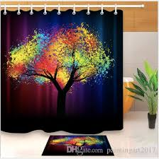 2018 creative trees decoration bath curtain colorful watercolor spring life tree shower curtain mildew resistant fabric for bathroom bath mats from