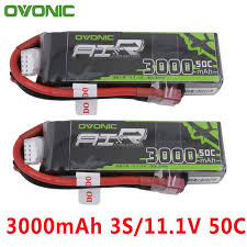 2PCS <b>Ovonic 11.1V 3000mAh</b> 50C 100C LiPo <b>3S</b> Battery Pack with ...