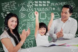 portrait of happy little girl raise hands after finish her portrait of happy little girl raise hands after finish her homework and get applause stock photo