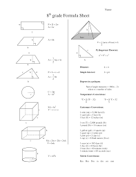 eighth grade math formula chart 8th grade formula sheet