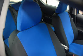 2016 toyota prius c front closeup of neosupreme custom seat covers with blue insert and black sides